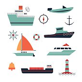 ships range. Includes boat, ship, boat, barge, scooter