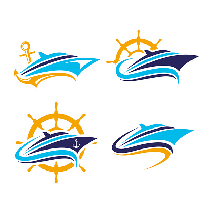 boat, ships, yacht, cruise vector logo. perfect for transportation company. flat color style