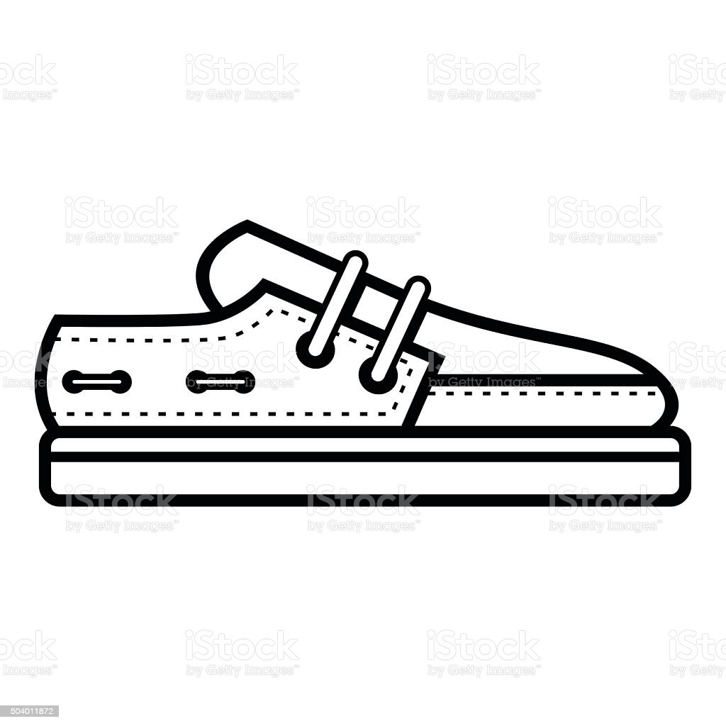 Boat Shoe Outline vector art illustration