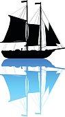 Boat silhouette.