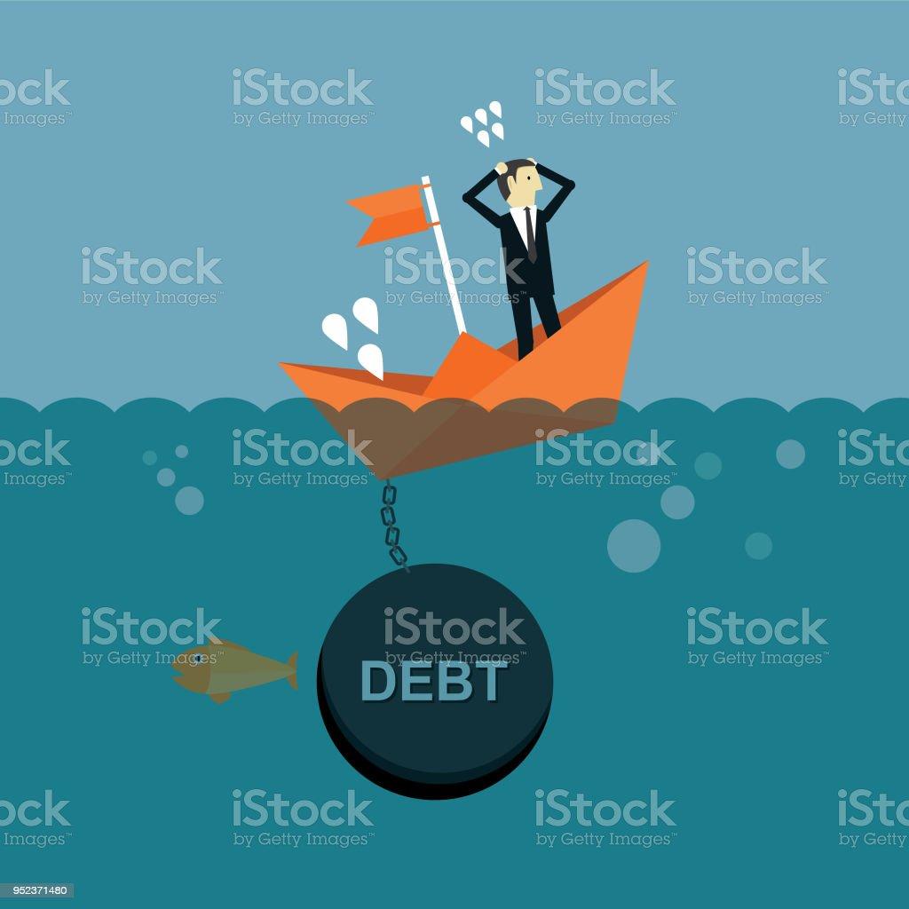 Boat sinks in water vector art illustration