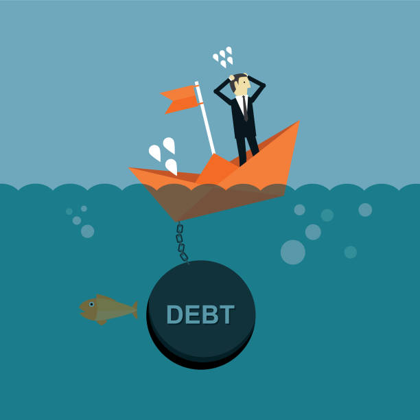 Boat sinks in water Ship, Nautical Vessel, Business, Sinking, Debt budget backgrounds stock illustrations