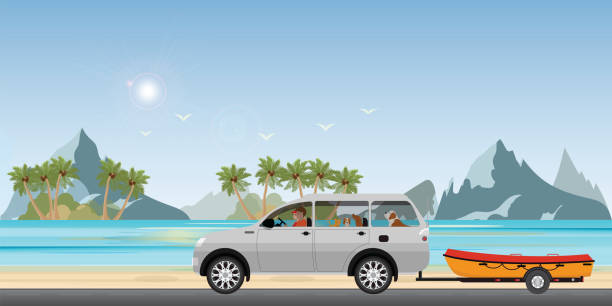 Boat towing car on road running along the sea coast. vector art illustration