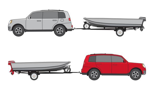 Boat Trailer and Car vector art illustration