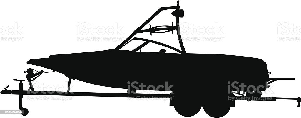 boat & trailer silhuette royalty-free stock vector art