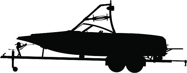 boat & trailer silhuette vector art illustration