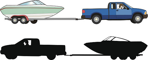 Boat trailer vector art illustration