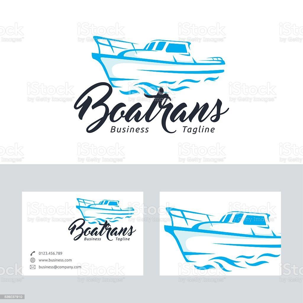 Barco vector de trans de logotipo con la plantilla de tarjeta de presentación ilustración de barco vector de trans de logotipo con la plantilla de tarjeta de presentación y más banco de imágenes de aventura libre de derechos