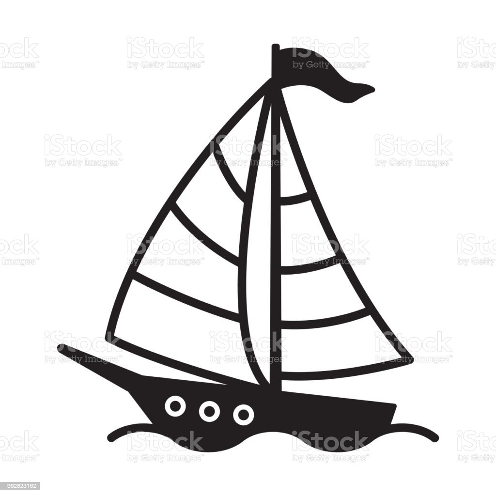 Ilustración de Barco Vector Logo Icono Yate Velero Ancla Timón Faro ...
