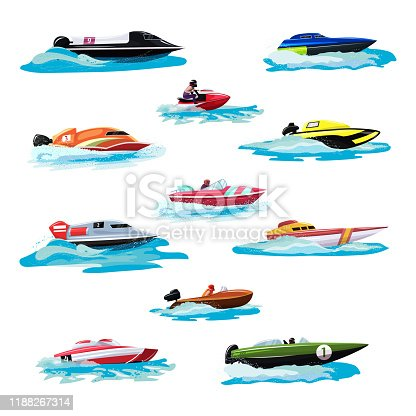 Boat vector speed motorboat yacht traveling in ocean illustration nautical set of summer vacation on motorized boat speedboat vessel transportation by sea waves, isolated on white background.