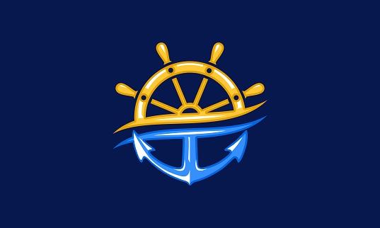 Boat Wheel And Anchor Nautical Logo