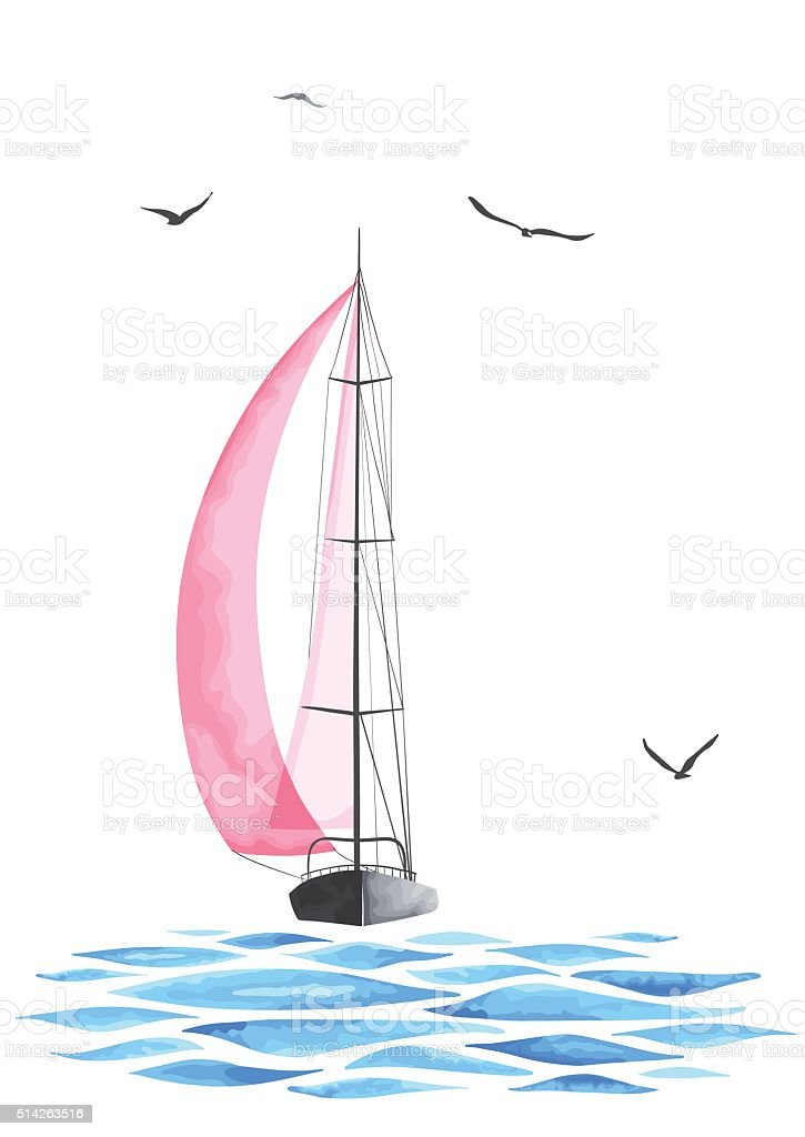 Boat with sails and seagulls made in the vector vector art illustration