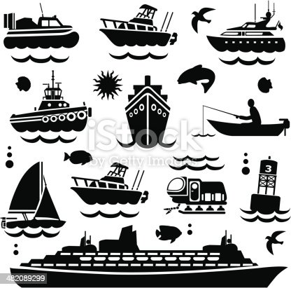 Vector boating design elements.