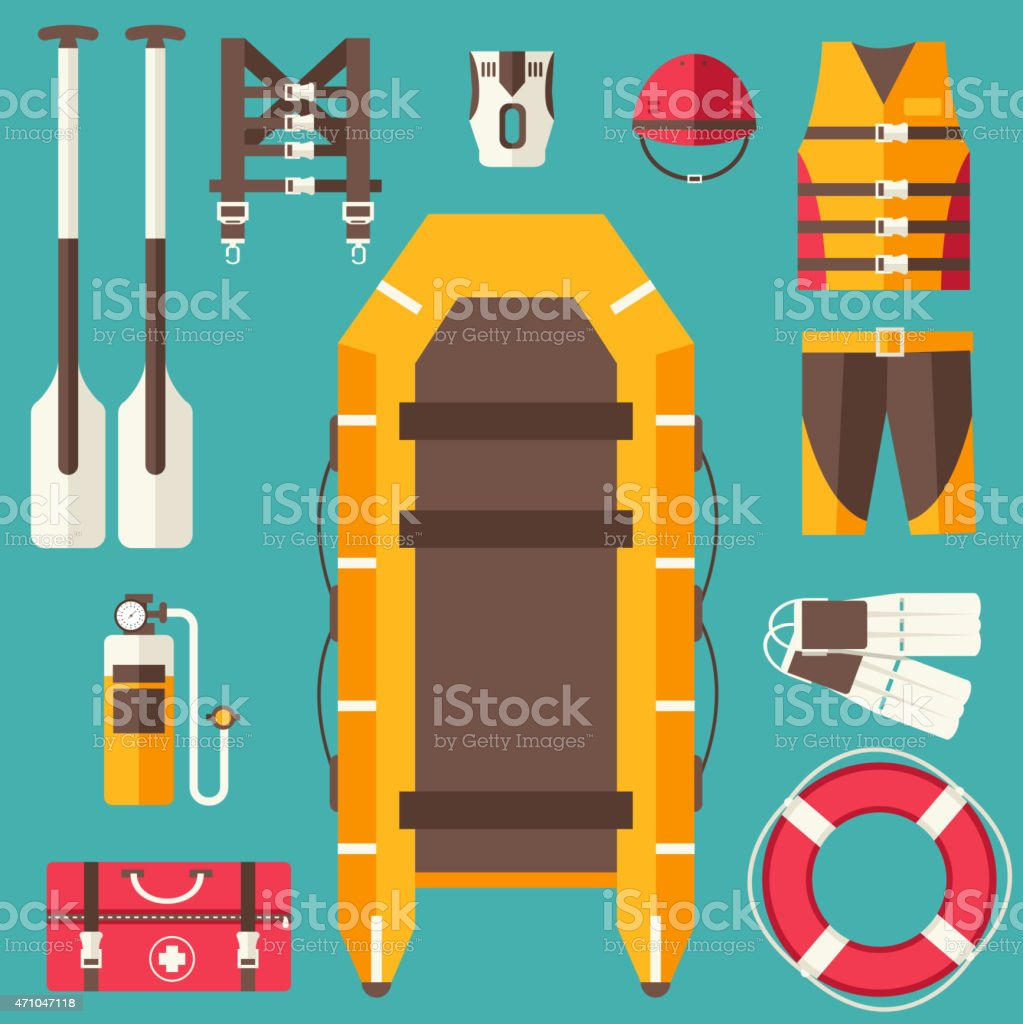 Boating gear icons graphic on a teal background vector art illustration