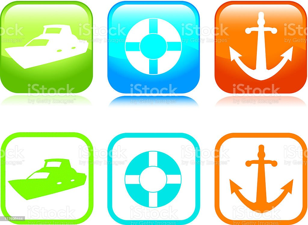Boating Icons royalty-free stock vector art