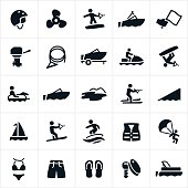 Icons related to boating the recreation activities associated with boating. The icons include boats, motor boats, wake boarding, water skiing, motor, ski boat, ski trailer, tubing, water, water sports, water recreation, wake surfing, parasailing, life jacket, watercraft, boat prop, equipment, helmet, pontoon boat, swim suites, sail boat and safety equipment to name a few.