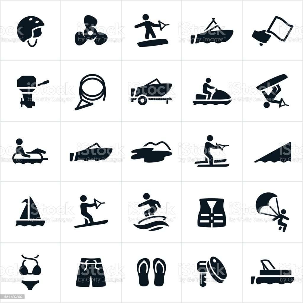 Boating Icons vector art illustration