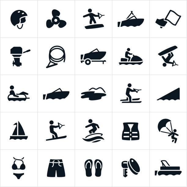 Bootfahren Symbole – Vektorgrafik