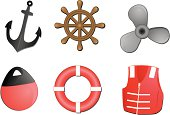 set of six boating related vector illustrations. anchor,steering wheel,propeller,bouy,life preserver and life jacket