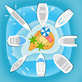 Boats and yachts sail to the little sandy tropical island with palm trees. Top view design for flyers and brochures, postcards, banners, posters, broadsheets. Vector illustration.