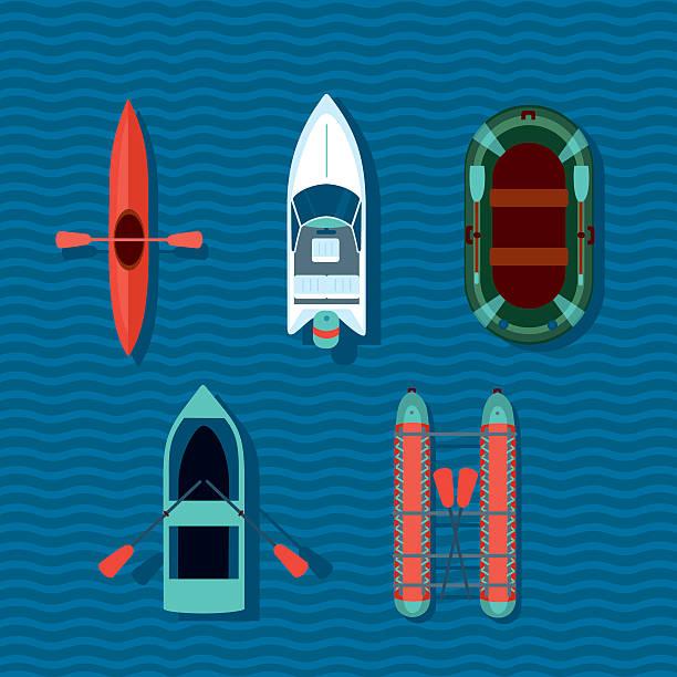 Barcos collection. Vista de cima de vectorts navios. - ilustração de arte em vetor