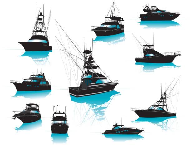 illustrations, cliparts, dessins animés et icônes de bateaux, pêche, charte, luxe, collection - voilier à moteur