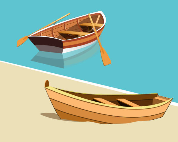 boats on the shore - holiday background stock illustrations