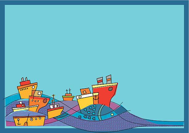 ilustraciones, imágenes clip art, dibujos animados e iconos de stock de barcos, al mar y gran pescado - tintanegra00