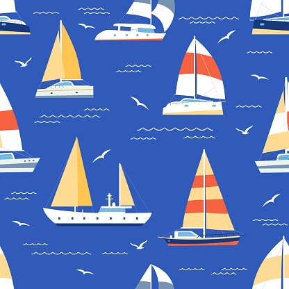 Boats seamless pattern. Summer marine print with sailboats and yacht on sea. Sailing regatta ships travel in blue ocean, flat vector texture