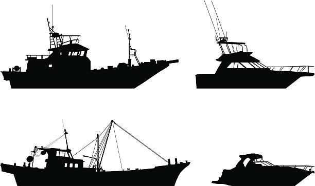 ilustrações de stock, clip art, desenhos animados e ícones de barcos - fishing boat