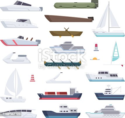 Boats. Water sea or ocean vessel small and big ships and sailor boats vector cartoon transport. Steamboat and kayak, yacht travel, transportation speedboat illustration