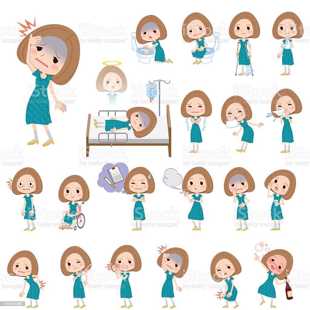 Bob hair green dress women About the sickness vector art illustration