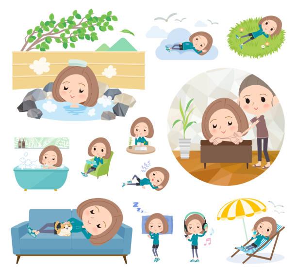 bildbanksillustrationer, clip art samt tecknat material och ikoner med bob hår kvinnor sportswear_relax - japanese bath woman