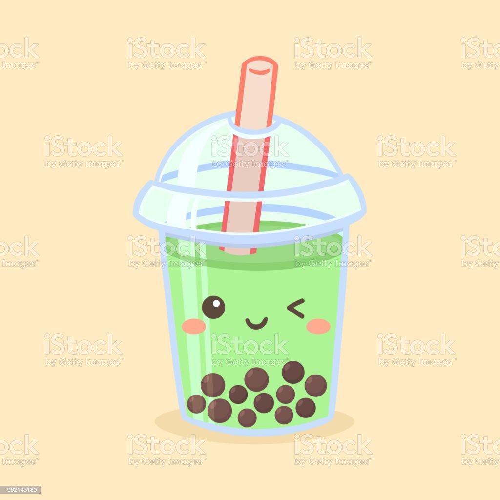 Boba Bubble Green Tea Drink Plastic Glass Vector Cartoon vector art illustration