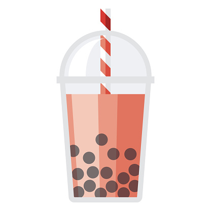 Boba Bubble Tea Icon on Transparent Background