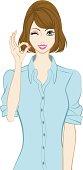 Bobbed hair women, OK Sign