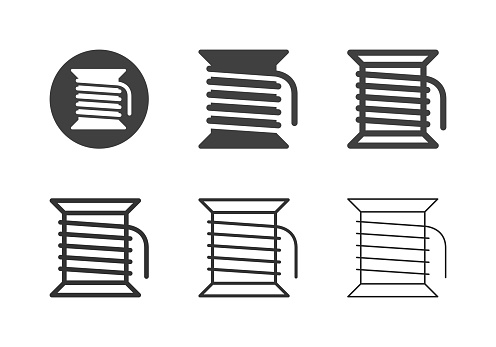 Bobbin Thread Icons Multi Series Vector EPS File.