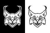 Bobcat, lynx, or wild cat cartoon head - black and white cut out silhouette