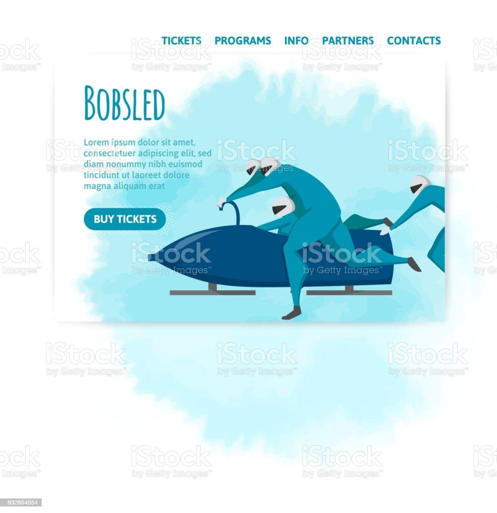Bobwettbewerbe Vektorillutration Designvorlage Sportwebsite Banner ...