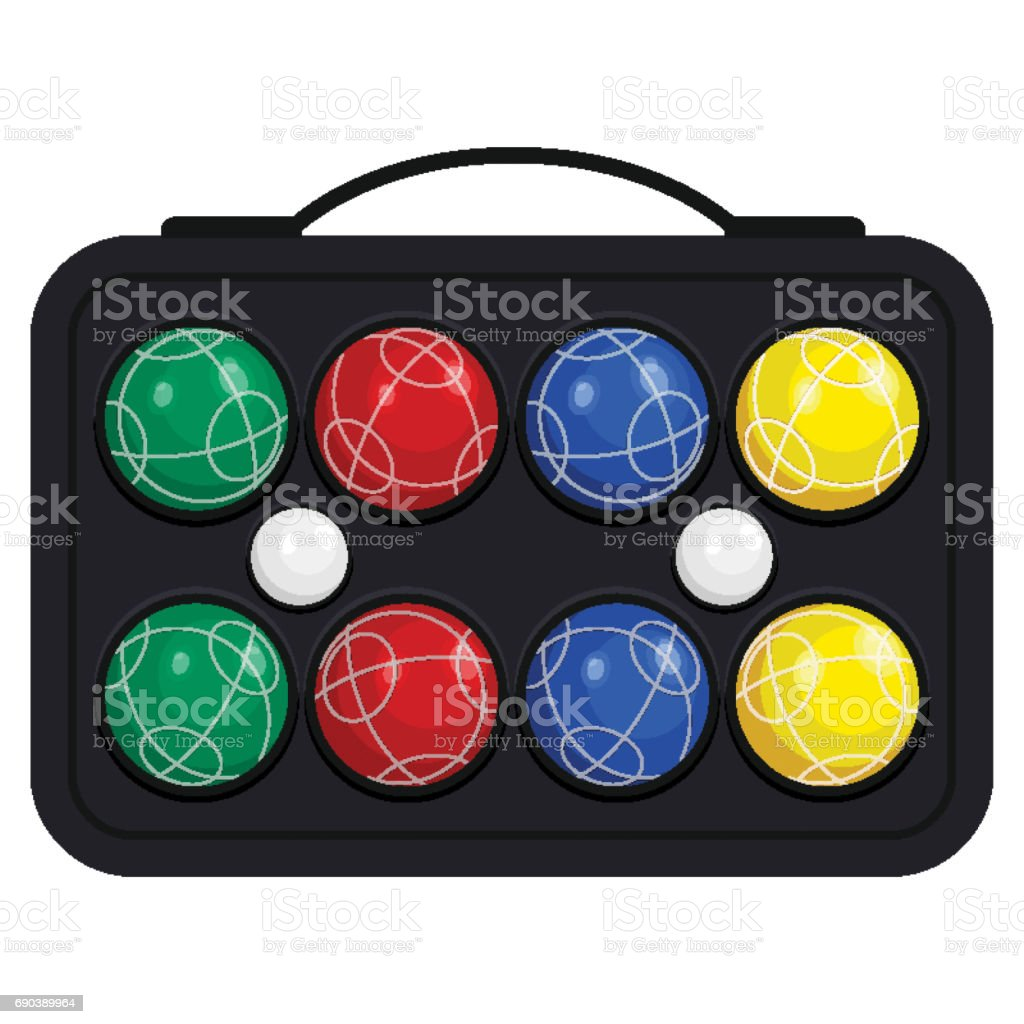 Bocce ball in kit or case vector illustration isolated on white background vector art illustration