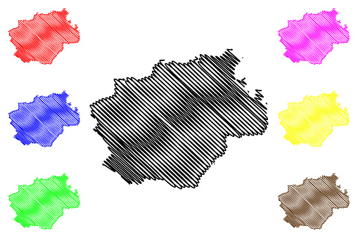 Bochum City (Federal Republic of Germany, North Rhine-Westphalia) map vector illustration, scribble sketch City of Bochum map