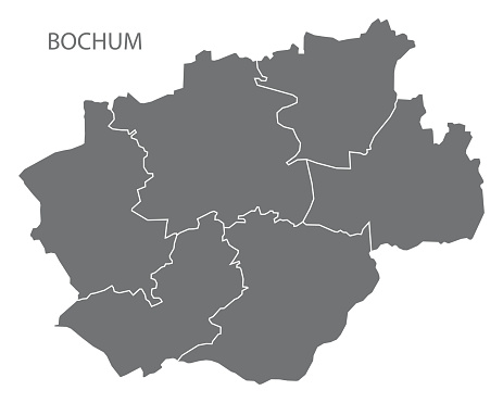 Bochum city map with boroughs grey illustration silhouette shape