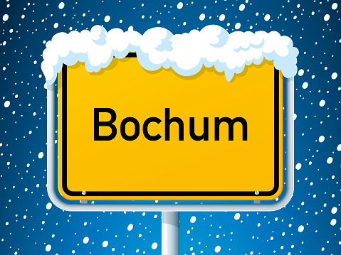 Bochum German City Road Sign Winter Snow