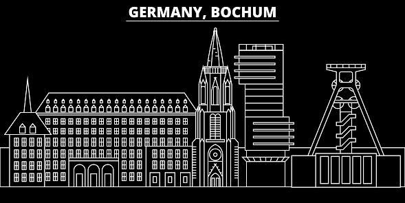 Bochum silhouette skyline. Germany - Bochum vector city, german linear architecture, buildings. Bochum travel illustration, outline landmarks. Germany flat icon, german line banner