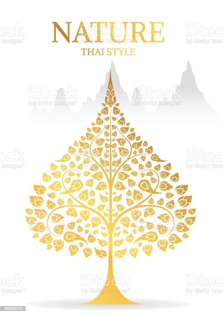 Bodhi tree y hoja de oro color del vector de la tradición tailandesa - ilustración de arte vectorial