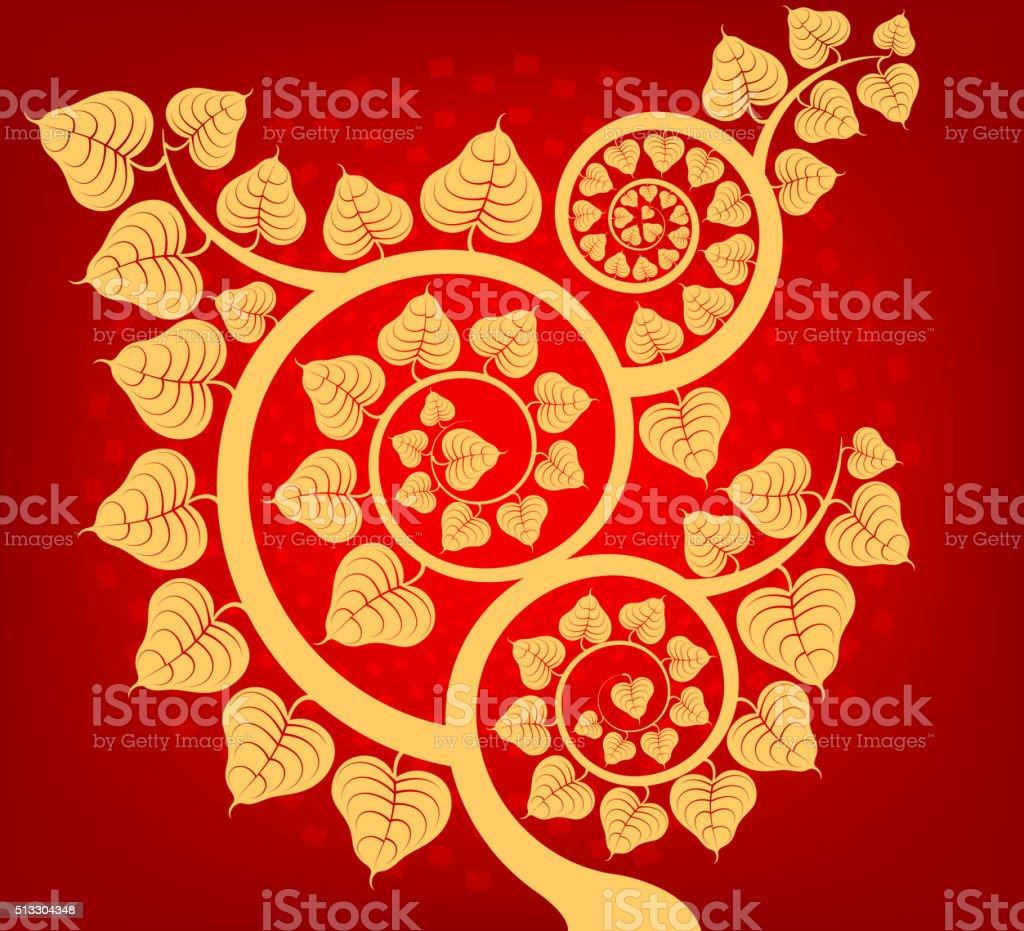 Árbol Bodhi asiático cultura - ilustración de arte vectorial