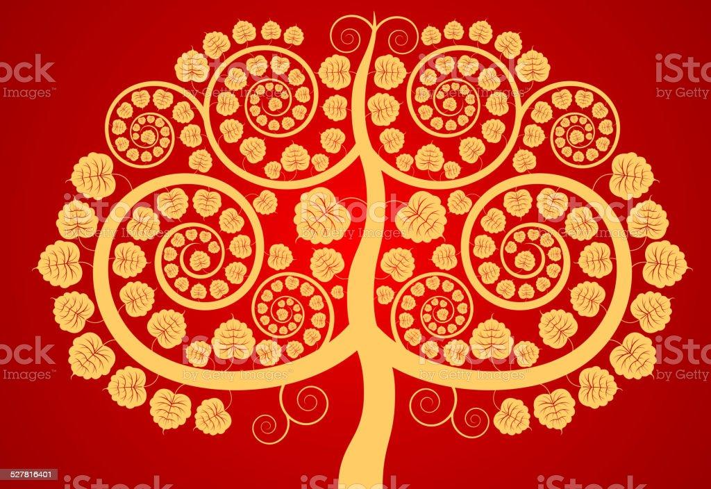 Árbol Bodhi - ilustración de arte vectorial