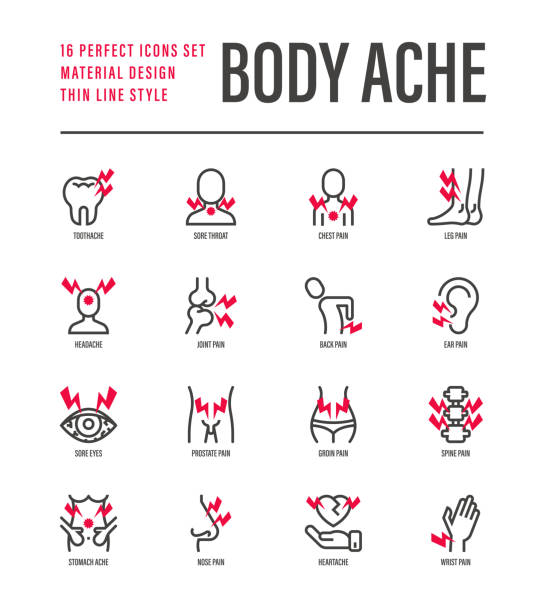 Body ache thin line icons set. Toothache, heart attack, headache, joint pain, arthritis, osteoporosis, stomachache, menstrual pain. Vector illustration. Body ache thin line icons set. Toothache, heart attack, headache, joint pain, arthritis, osteoporosis, stomachache, menstrual pain. Vector illustration. inflammation stock illustrations