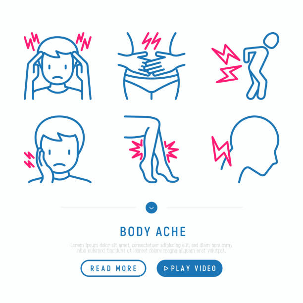 Body aches thin line icons set: migraine, chest pain, menstrual, joint, arthritis, rheumatism, toothache. Modern vector illustration. Body aches thin line icons set: migraine, chest pain, menstrual, joint, arthritis, rheumatism, toothache. Modern vector illustration. inflammation stock illustrations