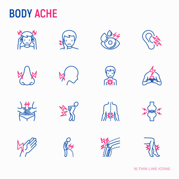 Body aches thin line icons set: migraine, toothache, pain in eyes, ear, nose, when urinating, chest pain, menstrual, joint, arthritis, rheumatism. Modern vector illustration. vector art illustration